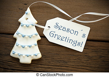 Blue Seasons Greetings on a Tag - Blue Words Seasons...