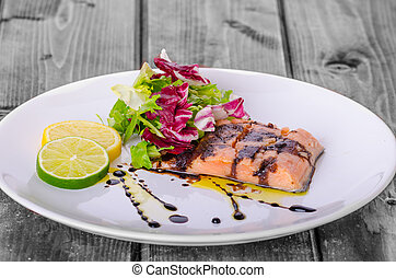Salmon with a reduction of balsamic vinegar and sugar, fresh...