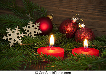 Candles Lighting Christmas Background Szene - Two Red...