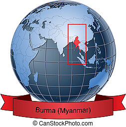 Burma (Myanmar), position on the globe Vector version with...