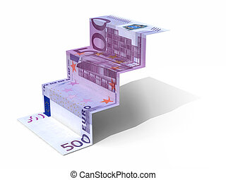 € 500 banknote folded as steps on white background, 3d...