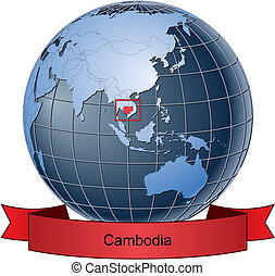 Cambodia, position on the globe Vector version with separate...