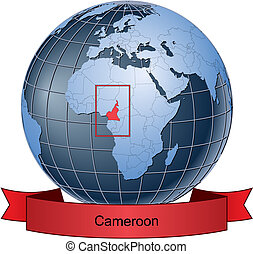 Cameroon, position on the globe Vector version with separate...