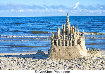 Sand castle on a beach of the Baltic Sea in Poland