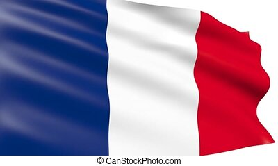 French flag waving, animation