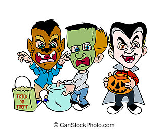 Halloween Trick Or Treating - hand drawn cartoon kids in...