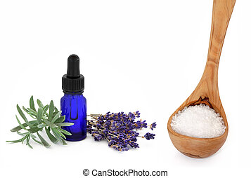 Aromatherapy Spa Products - Lavender herb flowers and leaf...