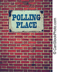 Polling Place Sign On Wall