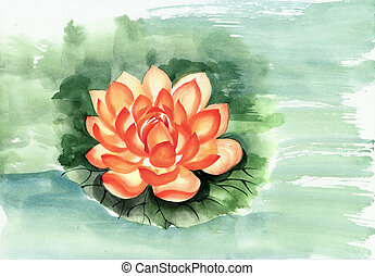 Orange lotus flower watercolor painting, original art, Asian...