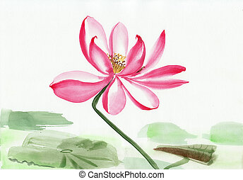 Lotus flower watercolor painting, original art, Asian style