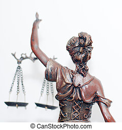 lady justice or themis back - close up picture of lady...