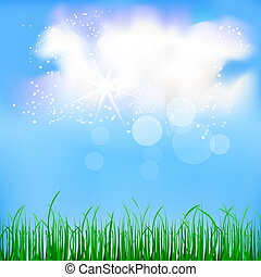 Natural background with blue sky and green grass
