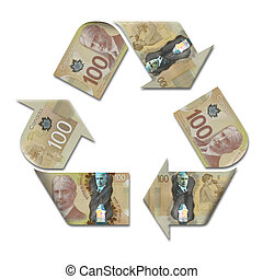 recycle symbol made with canadian dollars - recycle symbol...