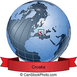 Croatia, position on the globe Vector version with separate...