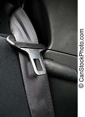 Black Seatbelt in a small car