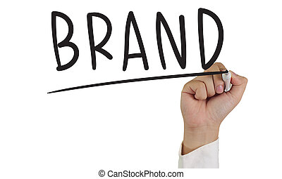 Brand - Business concept image of a hand holding marker and...