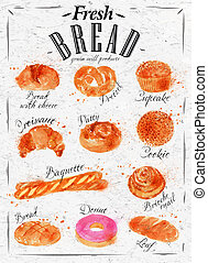 Bread products poster - Bakery products painted watercolor...