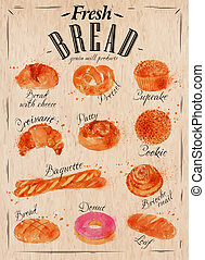 Bread products poster kraft - Bakery products painted...