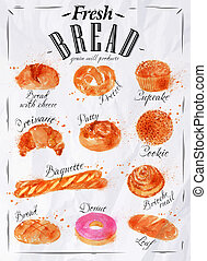 Bread products poster paper - Bakery products painted...