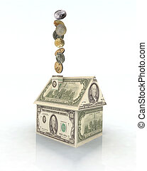 house made with dollars - house made with dollar money, 3d...