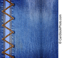 Blue jeans with lacing - Blue jeans texture background with...