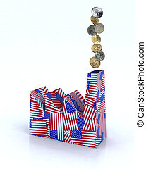factory made of american flags with dollar coins - Building...
