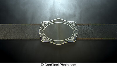 Belt Buckle And Leather - A seamed leather belt threaded...