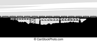 Parry Sound Railway Bridge - Silhouette of the railway...