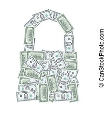 dollar money notes padlock open or bag