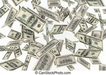 falling banknotes dollar rain 3d illustration