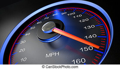 Speedometer MPH Fast - A regular speedometer with glowing...