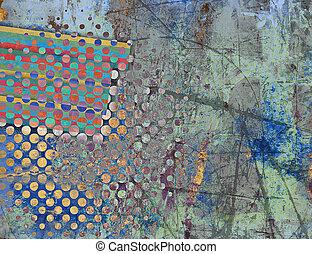 Retro Color Halftone Texture - Abstract Retro Color Halftone...