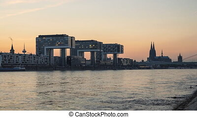 Cologne Skyline and the River Rhine at Sunset, Germany