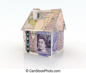 house pounds banknotes 3d illustration