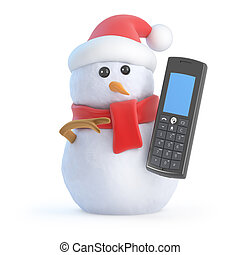 3d Santa snowman chats on a mobile phone - 3d render of a...