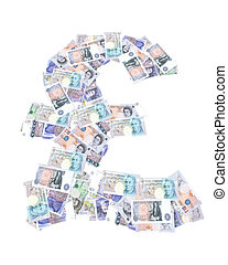 symbol pound currency with bank notes