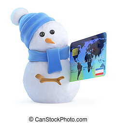 3d Snowman pays with a debit card - 3d render of a snowman...