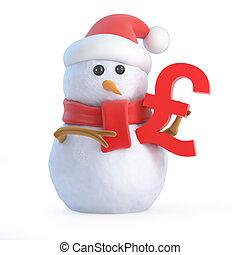 3d Santa snowman holding a UK Pound Sterling currency symbol...