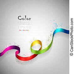 Color Ribbon - Color Abstract Design Ribbon On A Gray...