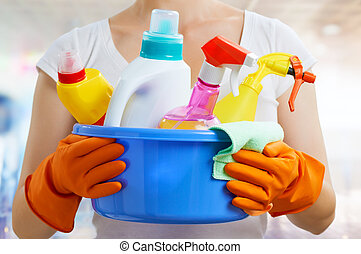 housewife - Woman with a pack of detergents