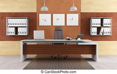 Elegant modern office with executive desk - rendering