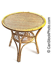 Rattan table isolated on white