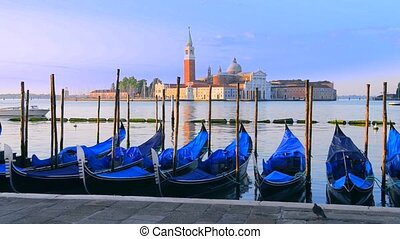 Gondolas in Venezia - Gondolas moored by Saint Mark square...