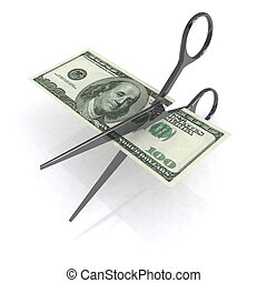 scissors cutting dollar 3d illustration - scissors cutting...