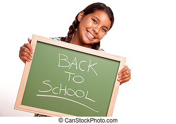 Pretty Hispanic Girl Holding Chalkboard with Back To School...