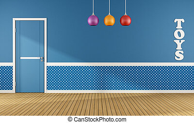 Blue playroom with closed door and colorful chandelier -...