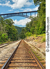 Railroad and Big Bridge - A rural railroad track points to...