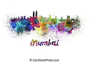 Mumbai skyline in watercolor splatters with clipping path