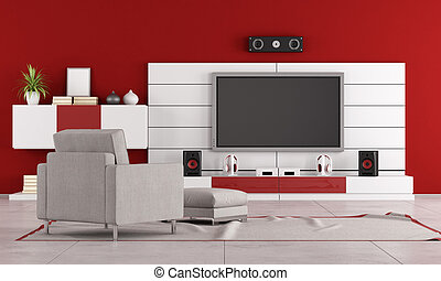Red living room with TV stand,speaker and armchair...