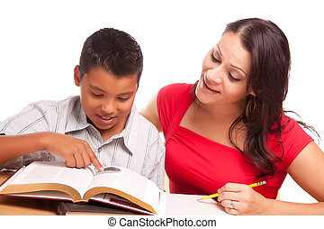 Attractive Hispanic Mother and Son Studying Isolated on a...